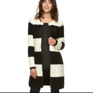 Elle Black/White Long Sweater Cardigan
